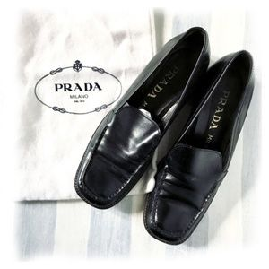 PRADA Black Leather Italian Loafers Euro 38